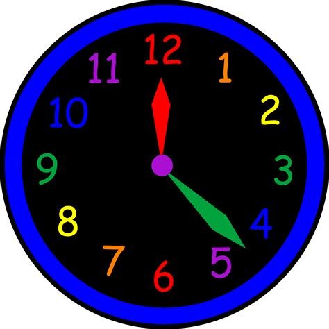 colored time simple rainbow wall clock free clip
