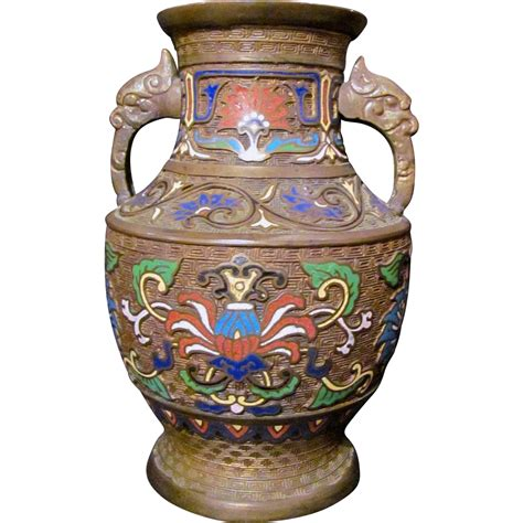 Antique Japanese Cloisonne Vases by Antique Japanese Chleve Enamel Cloisonne Vase Circa
