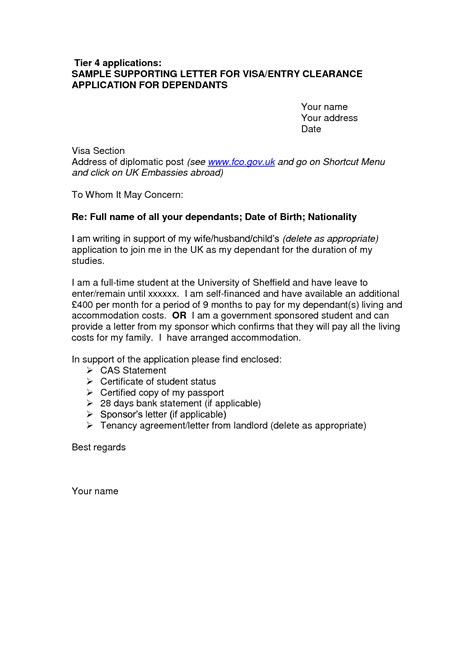 Letter Template Uk cover letter sle for uk visa application free