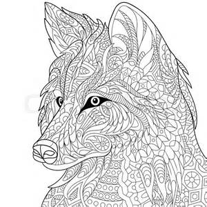 wolf coloring pages for adults zentangle stylized wolf isolated on white