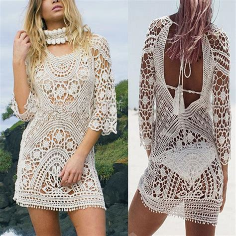 knitted bathing suit cover up 2018 fashion bathing suit lace crochet cover
