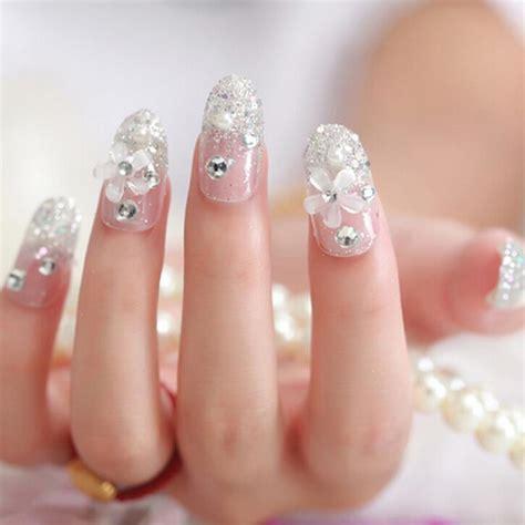 Kuku Palsu 3d Wedding Blink 3d Nails Pink Bow jual na012 kuku palsu 3d nail silver nails wedding for mooi lashes