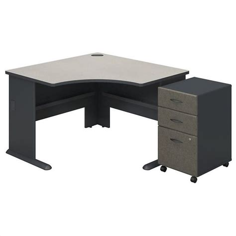 bush bbf series a corner desk with pedestal in slate white