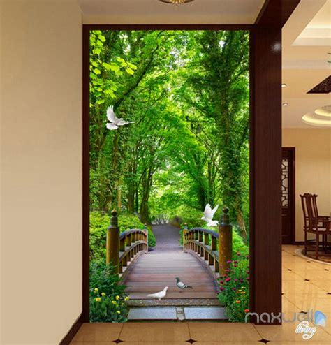 forest bridge bird corridor entrance wall mural decals