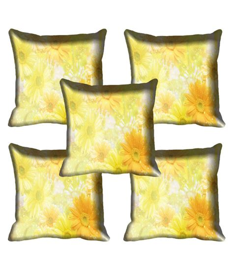 yellow patterned cushions mesleep yellow floral satin cushion covers set of 5 buy