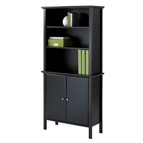 realspace bookcase with doors chestnut by