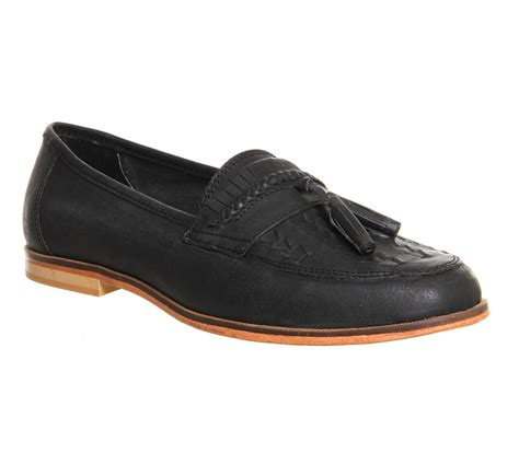 black loafers for office bank tassel loafers in black for save 14 lyst