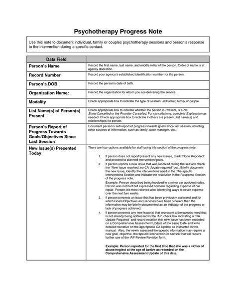 counselling session notes template psychotherapy progress notes template search