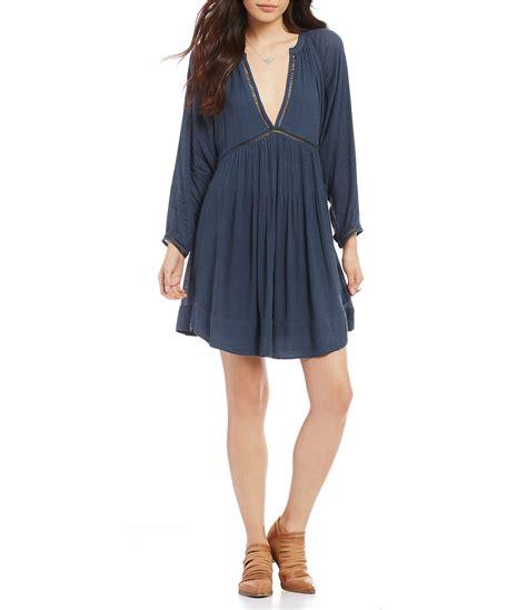 Mini Dress Gaun Terusan Blue V Neck L 151821 Original Sale free go lightly v neck solid mini dress dillards