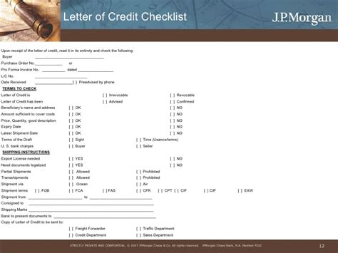 Letter Of Credit Checklist Trade Payment Finance Risk Mitigation