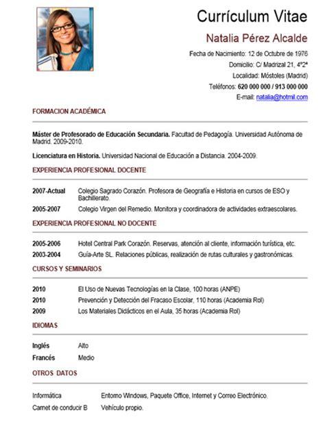 Plantilla De Curriculum Vitae De Profesores Plantilla N 186 55 Cvexpres