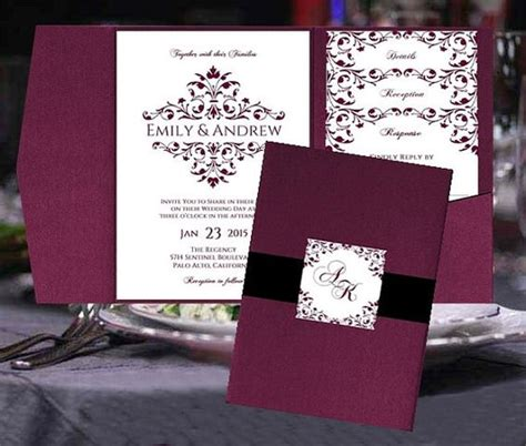 Pocket Fold Wedding Invitation Templates Merlot Burgundy Wine Maroon Sangria Victorian Design Maroon Wedding Invitation Templates