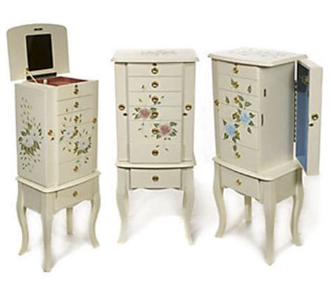 thomas pacconi jewelry armoire thomas pacconi handpainted locking jewelry armoire qvc com