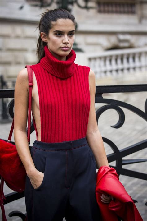 sara sampaio wearing  revealing red turtleneck model