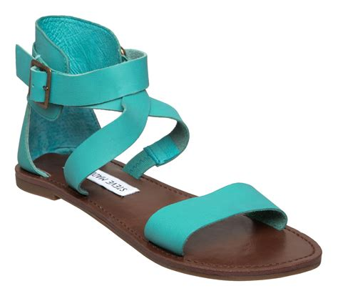 turquoise sandals steve madden bethany sm thick flat sandals in blue