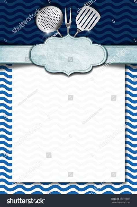 seafood menu template blue white background stock