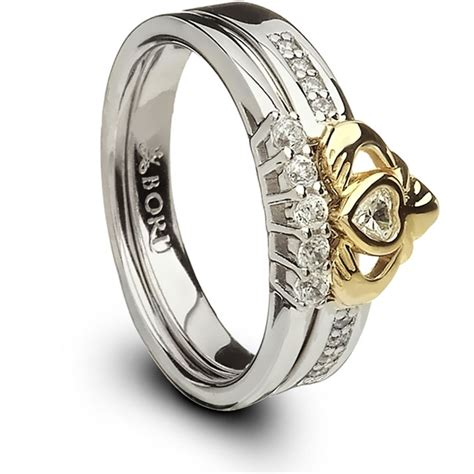 silver and 10k gold claddagh ring set