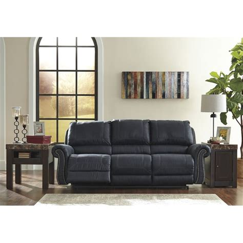 Navy Leather Sofa Milhaven Reclining Faux Leather Sofa In Navy 6330488