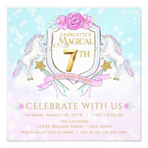 sle invitation card for 7th birthday unicorn 7th birthday invitations zazzle co uk