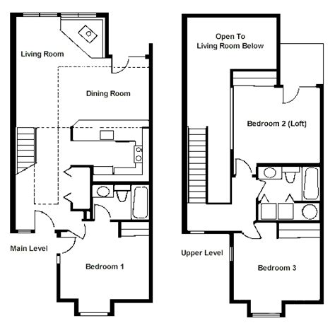 2 bedroom with loft house plans floor plan two bedroom loft rci id 1711 whispering woods resort
