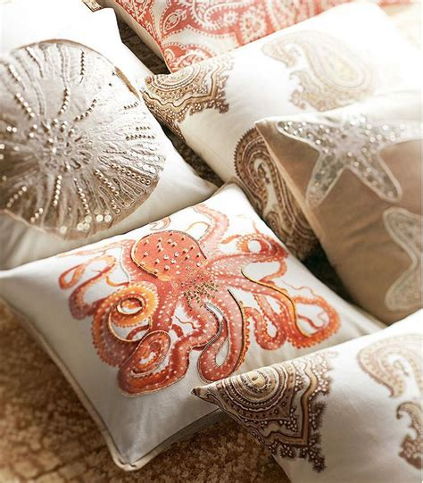 pottery barn bed pillows cool coastal corals pillows pinterest