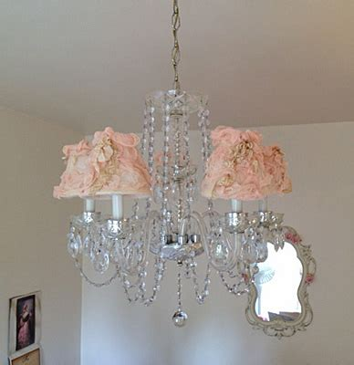 Pink Chandelier L Shades Vintage Style Pink Chandelier Shades Shabby Cottage Style Home Decor