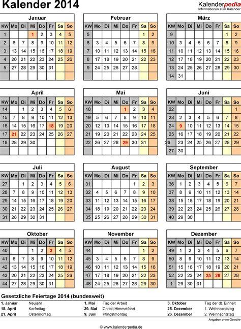 Kalender Mit Kw Kalender 2014 Mit Excel Pdf Word Vorlagen Feiertagen