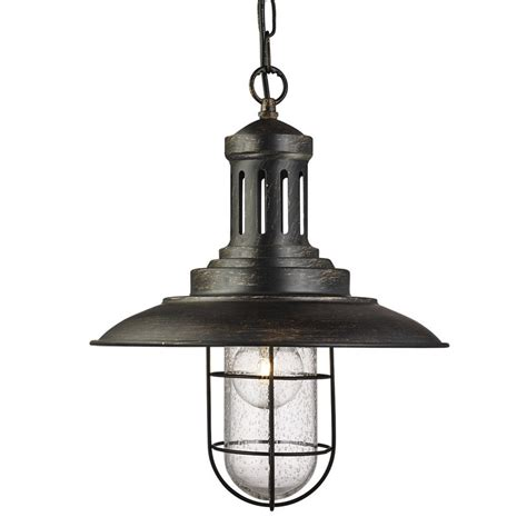Fisherman Ceiling Light Fisherman Black Gold Pendant Ceiling Light With Caged Shade