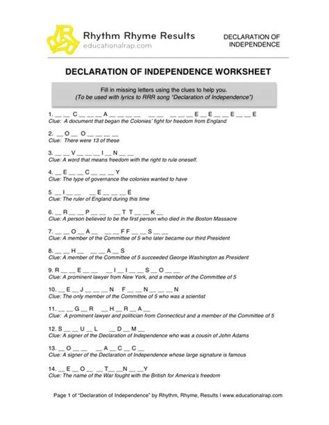 declaration of independence up letter lesson worksheets american declaration of independence worksheet