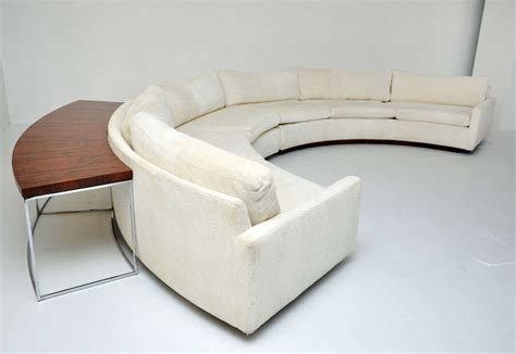 semi circle loveseat milo baughman semi circle sofa w console table at 1stdibs