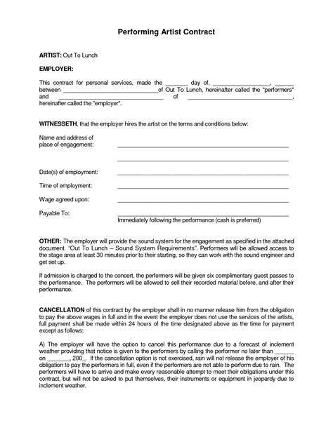 performance agreement template best photos of artist performance contract agreement
