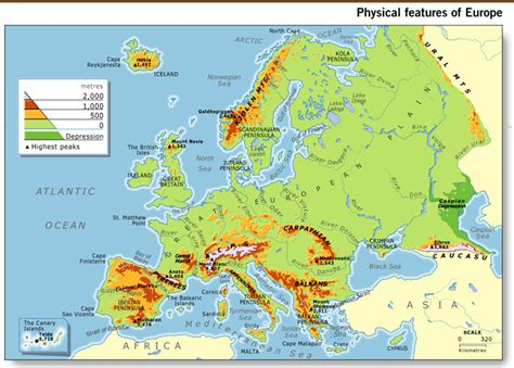 physical world map rivers and mountains physical map of europe where are the majority of
