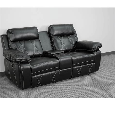 leather theater recliners reel comfort series 2 seat reclining black leather theater