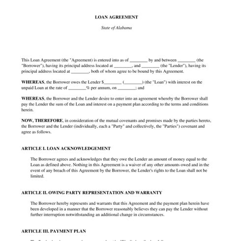 Loan Agreement Free Sle Template Word Pdf Loan Agreement Template Pdf