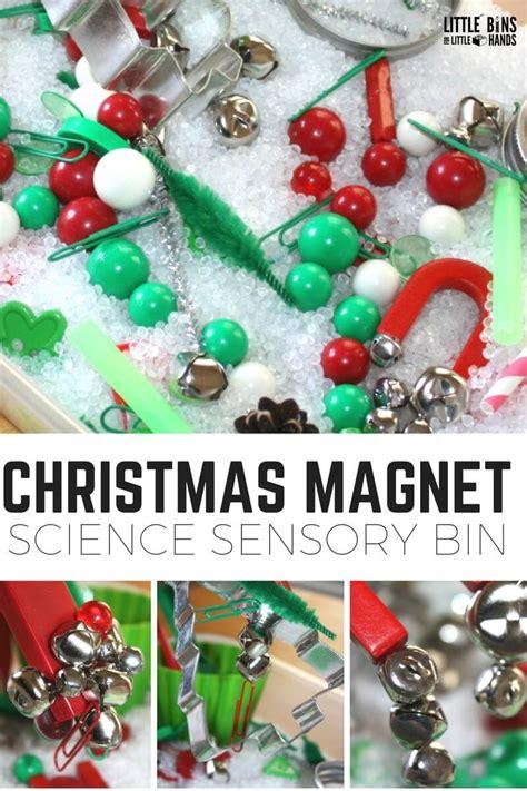 christmas magnet science  sensory bin  kids experiments