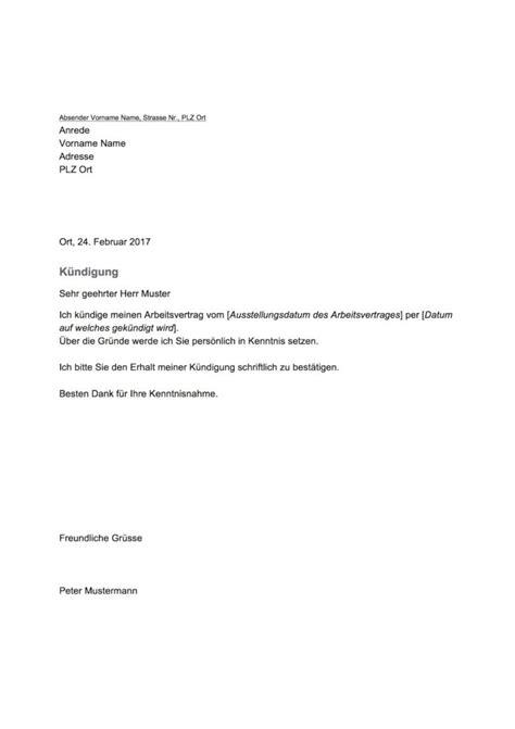 kuendigungsschreiben vorlage arbeitnehmer schweiz gratis
