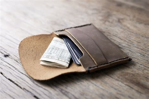 Handmade Leather Card Wallet - wallet leather wallet leather credit card wallet