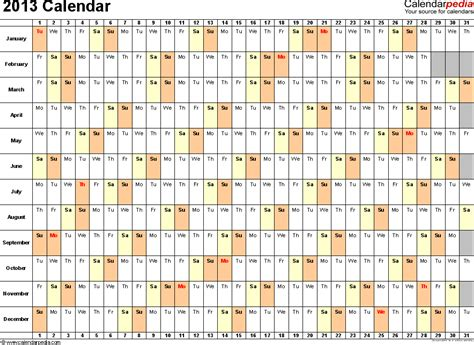 2014 year excel monthly calendar printable template xls