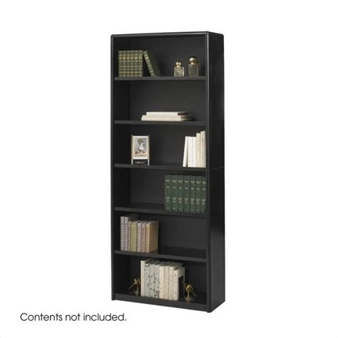 black wood bookshelves safco valuemate 6 shelf wood economy steel bookcase in black 164587