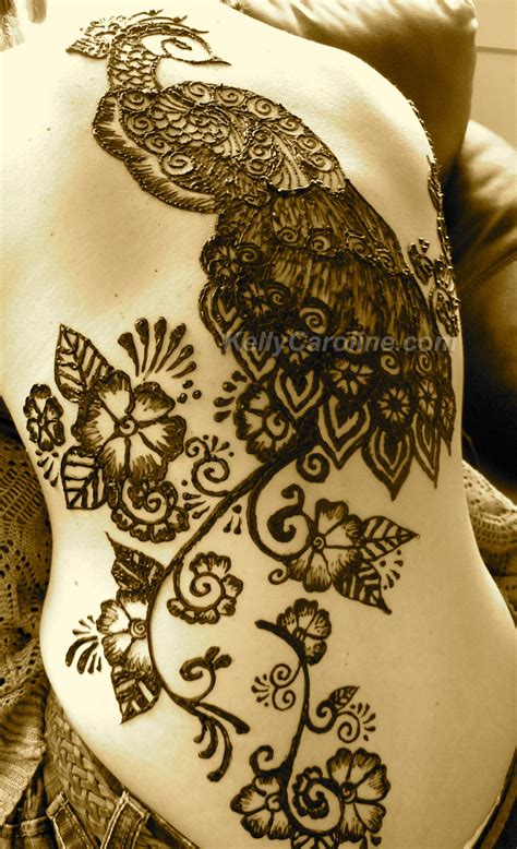 peacock back tattoo peacock henna caroline