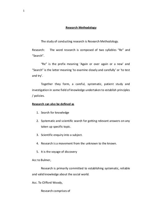 Research Methodology Notes For Mba Students by Research Methodology Paper Pdf