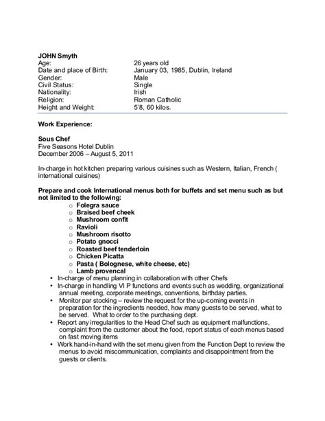 International Chef Cover Letter by Sle Chef Cv For Overseas