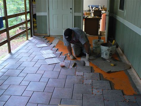 Wood Porch With a Tile Deck   Professional Deck Builder