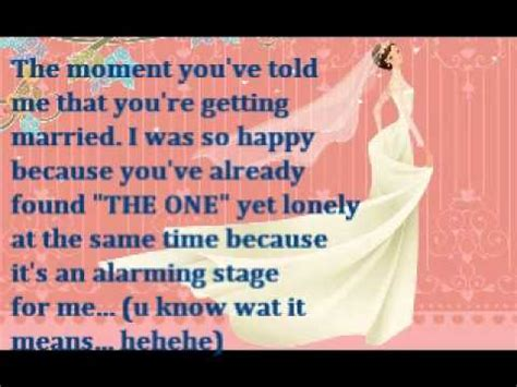a message to my bestfriend on her wedding day~~~   YouTube