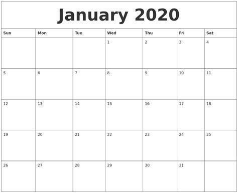 January 2020 Birthday Calendar Template