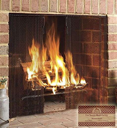 wide fireplace screen midwest hearth fireplace screen mesh curtain 2 panels