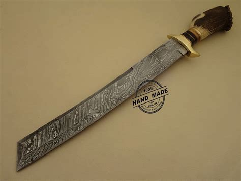 Highest Rated Kitchen Knives Damascus Tanto Bowie Knife Custom Handmade Damascus Steel