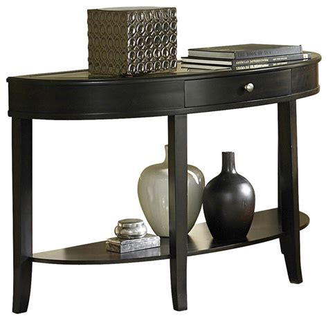 Homelegance brooks by half moon mirrored sofa table in cherry traditional console tables