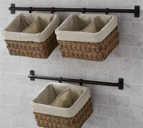 curtain wire system pottery barn hannah basket wall system large pottery barn