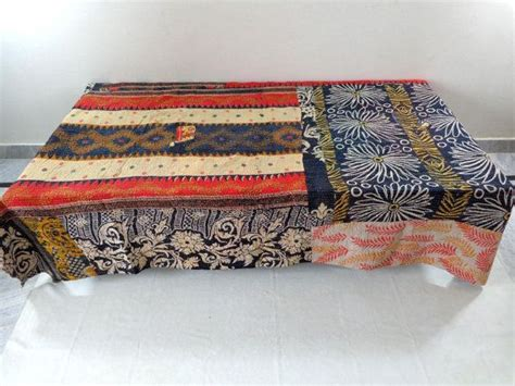 vintage throw kantha quilt indian handmade by indianlooks